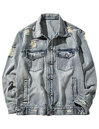 Unlined Jean Jacket - Yeokou Men's Casual Long Sleeve Button Down Ripped Unlined Faded Denim Jacket Coat Light-Blue XL