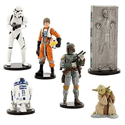 Disney Star Wars Collectible Figures Toy Playset Theme Park Exclusive - The Empire Strikes Back - Luke Skywalker, R2-D2, Yoda, Stormtrooper, Han Solo, Boba Fett by Disney