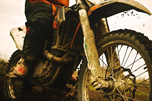 Close Up of Muddy Dirt Bike Photo Art Print Poster