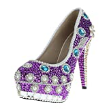 VELCANS Purple Rhinestone Wedding Heels for Bridal,Bridesmaid and Prom,Evening Dress Pumps Shoes of High Heels:5.5