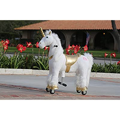 Medallion - My Pony Ride On Real Walking Horse for Children 3 to 6 Years Old or Up to 65 Pounds (Color Small Golden Unicorn): Toys & Games