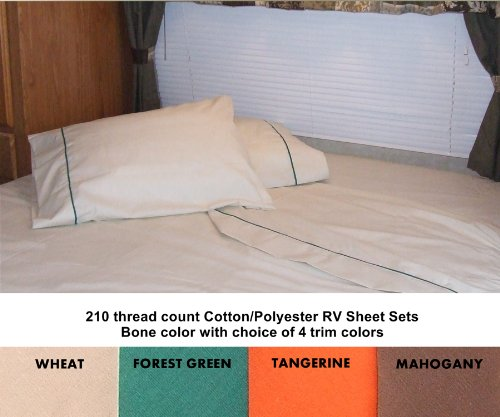 Mahogany Polyester Thread (60x75 Short Queen Sheet Set for Campers, RVs, Travel Trailers Cotton/Polyester blend Color: Bone (cream) with Mahogany Brown trim)