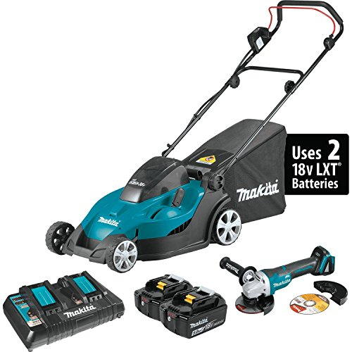 Makita XML02PTX1 18V X2 36V LXT Lithium-Ion Cordless 17 Lawn Mower Kit 5.0Ah and Brushless Angle Grinder