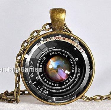 Vintage colgante de la cámara lente de cámara collar negro ...