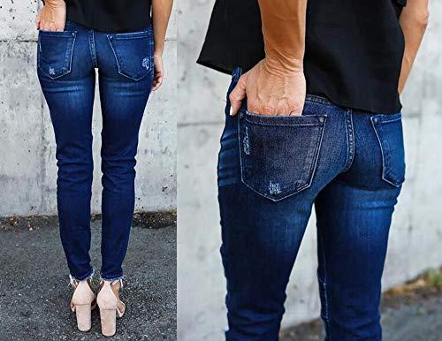 Pantalones Agujero Lápiz Ht Oscuro Estirar Slim Azul Plisado Huateng Fit Pies qx7p8IIwU