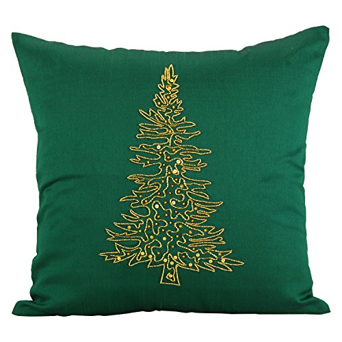The White Petals Emerald Green Christmas Tree Pillow Cover Embroidered with Golden Glass Beads (16x16 inches, Emerald Green)