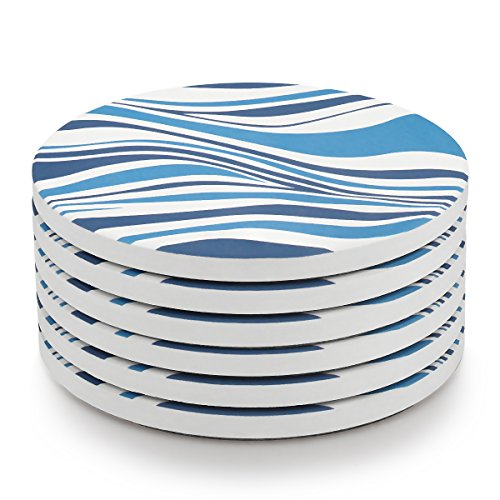 MIWARE Absorbent Stone Coasters - 6 Packs Ceramic Coaster Set for Drinks, Blue and White Irregular Stripes Style