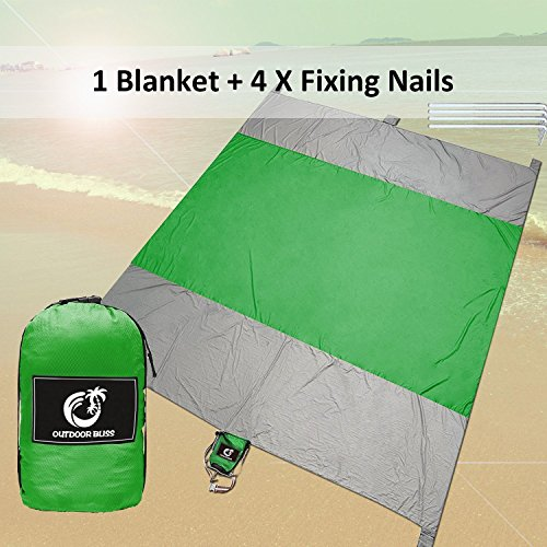 Outdoor Bliss Huge Sand Free Compact Outdoor Beach Picnic Blanket, Water Proof Blanket,10'x9' Oversized- Best Blankets For Festival&Hiking,Lightweight Portable, Nylon- 5 Weightable Pockets,4 Anchorage
