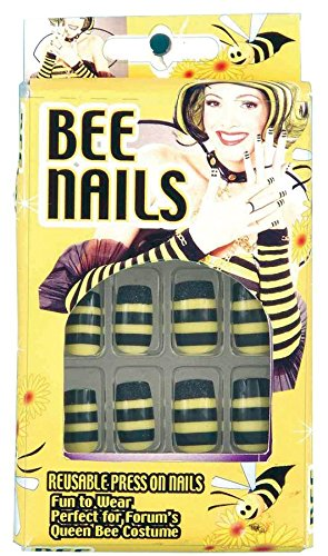 Bumble Queen Bee Nails Stick On 12 Black Yellow Halloween Costume Accessory New (Queen Bee Costumes Accessories)