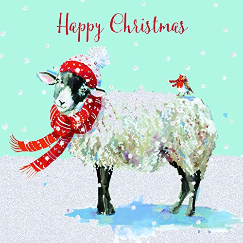 Pack of 6 Sheep & Robin Charity Christmas Cards Supporting Multiple Charities (Charity Christmas Cards Robin)