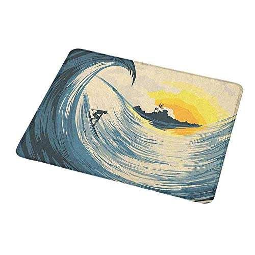 Rectangle Mouse pad Ocean,Illustration of Cloudy Sky Tropical Island Wave and Surfer at Sunset Seascape,Beige Yellow Navy,Waterproof Material Non-Slip Personalized Rectangle Mouse pad 9.8