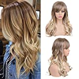 BLONDE UNICORN Long Curly Human Hair Wig with Bangs Ombre Brown to Blonde Wig Mixed Human Hair for Women 24inch