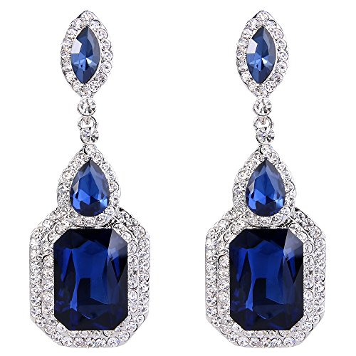 BriLove Silver-Tone Dangle Earrings for Women Wedding Bridal Emerald Cut Crystal Infinity Figure 8 Chandelier Earrings Navy Blue Sapphire Color