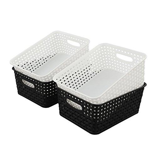 HOMMP 4-Pack Plastic Basket, Plastic Weave Storage Storage Organizer Basket/Bin