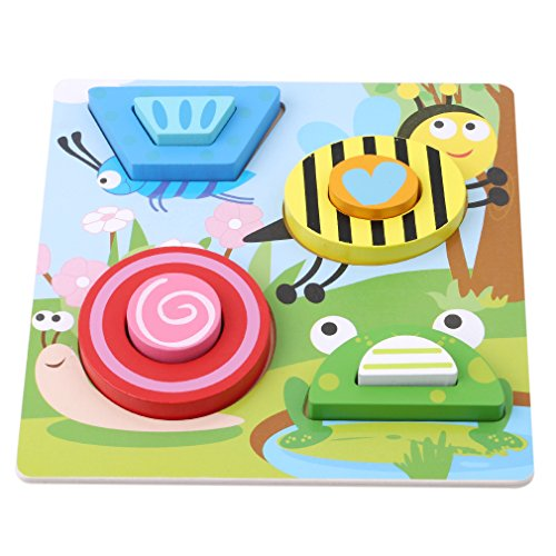Dolland Chunky Wooden Jigsaw Puzzle Set and Play Pieces with Wooden Assembly Tray - Fun, Educational and Interactive,Snail Bee Insect (Snail Jigsaw)