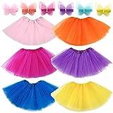 Elesa Miracle Girls Tutu 6pc Mini Butterfly Hair Clips Kids Princess Ballet Dance Party Favor Skirt, Pink,Purple,Yellow,Orange,Rose red,Blue