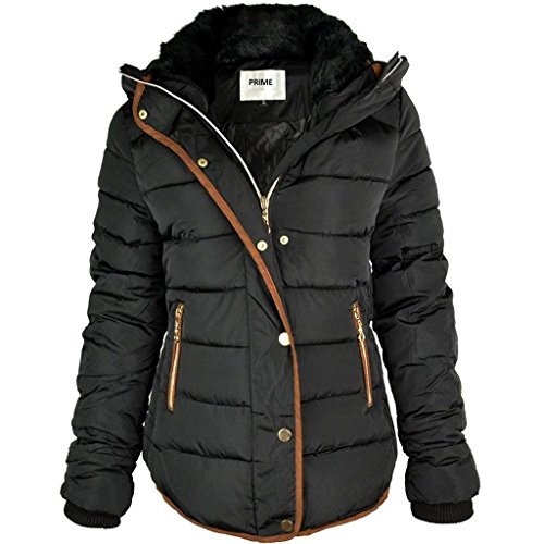 Prime Ladies Puffer Jacket Quilted Padded Warm Thick Womens Jacket Coat Pr-01 (PR1-BLACK-L)