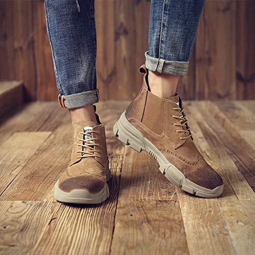 Martin Uomo Spesso Stringate Brown Stivali Da Size 40 Pelle Tondo Stivaletti Large Tacco Antiscivolo Scarpe Casual Moda RrgSqR