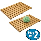 mDesign Natural Bamboo Wood Non-Slip Rectangular Spa Bath Mat - for Bathroom Showers, Bathtubs, Floors - Slatted Design, Eco-Friendly - Indoor and Outdoor use - Natural Light Finish, Pack of 2