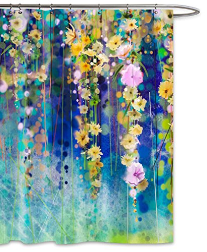 FKOG Spring Floral Art Painting Shower Curtain Sets Splash in Watercolor Fabric Waterproof with Hooks Pink Yellow Aqua 70 x 78 inches