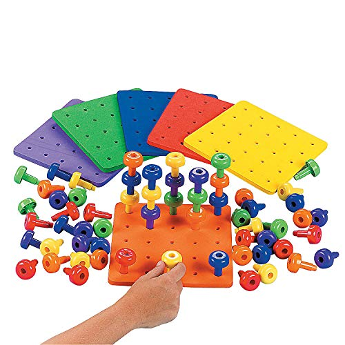 Fun Express - Stack It High! Pegs and Foam Peg Board - Toys - Active Play - Blocks & Construction - 186 Pieces