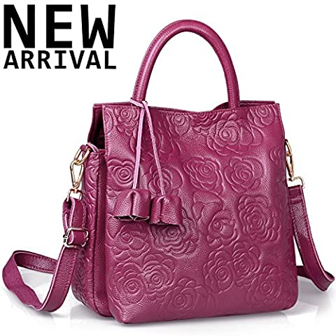 New Arrival Floral Embossed Handbags Crossbody Bags for Women Leather Satchel Purse by Jack&Chris,WB508 (Purple)