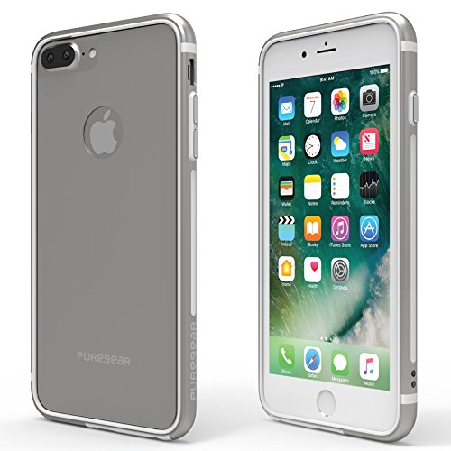 PureGear GlassBak 360, Premium Aluminum 360° Bumper Case + Tempered Glass Back Protection,Slim Protective Case CoverFunctional Metal Buttons for iPhone 7 Plus/ 6s Plus/ 6 Plus, Silver