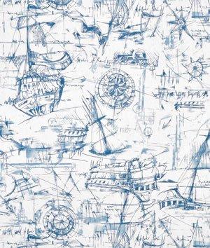 Premier Prints Schooner Nautical Fabric By The Yard (Nautical Cotton Fabric)