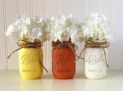 Mason jar set - 3 piece, Yellow, Orange, White, Candy Corn Halloween Centerpiece for $<!--$29.95-->