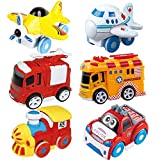 PeeNoke Toy 6 Pieces Friction Powered Die-Cast City Traffic Vehicles Toddler Car Toy