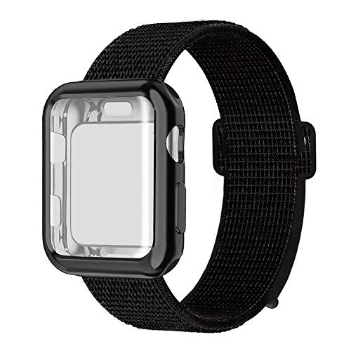 (QIENGO Compatible with Apple Watch Band with Case 44MM, Soft Nylon Strap with Silicone Screen Protector, Replacement for iWatch Sport Series 4 (Darkblack,)