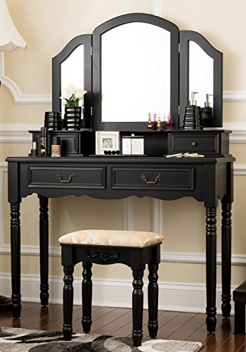 Fineboard Wooden Vanity Set, Dressing Table with 3 Mirrors and Stool, Four Drawer Make up Table