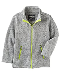 OshKosh Boy\'s Grey Spotted Fleece Jacket with Lime Accents (10)