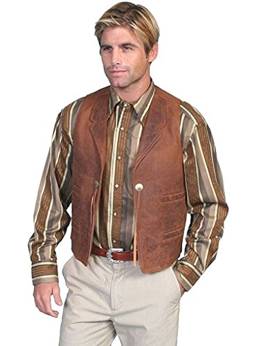 Mens Star Leather Vest (Scully Western Vest Mens Star Conchos Leather Cinch Waist 4X Brown 965)