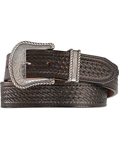 Justin Men's Bronco Basketweave Leather Belt Black 42