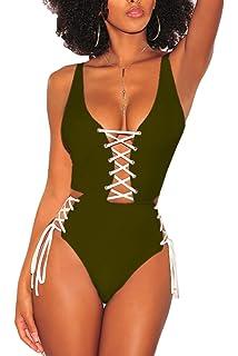 3cc325cf722 QINSEN Women's Sexy V Neck Lace Up Cutout High Waisted One Piece Monokini  Swimsuit