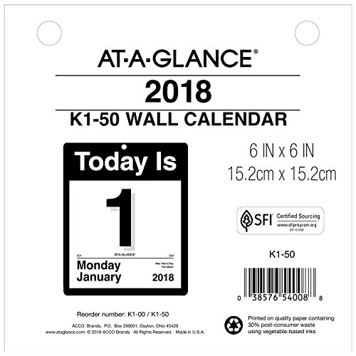 at-A-Glance Daily Wall Calendar Refill, January 2018 - December 2018, 6