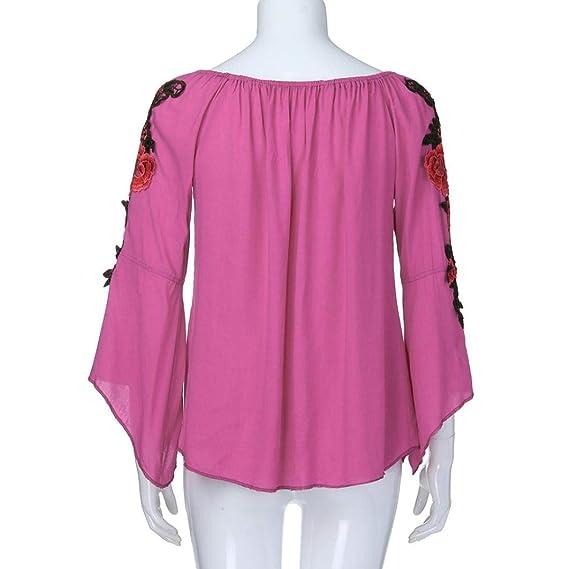 Bestow Color sš®Lido Apliques Mujeres mš¢s el Tama?o de Manga Larga Bordado Apliques Blusa Pullover Tops Camisa: Amazon.es: Ropa y accesorios