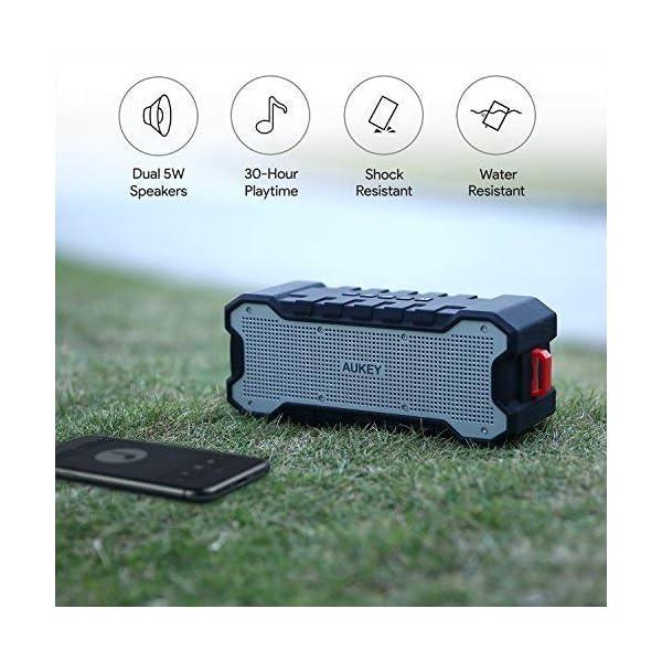 AUKEY Enceinte Bluetooth Portable Waterproof IPX7 avec 30 Heures de Lecture, Haut-Parleur Bluetooth Portable sans Fil pour Portable et Tablette 2