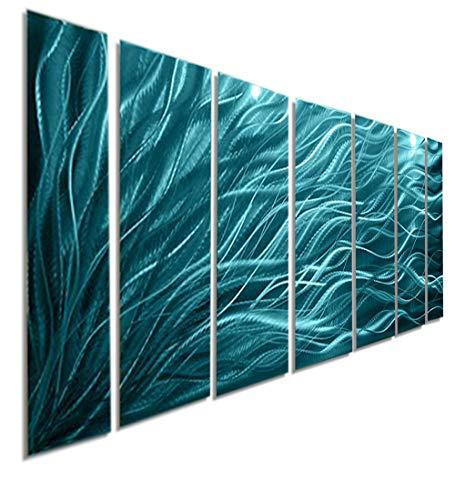 Jewel-toned Fusions of Aqua Wall Panel - Modern Abstract Metal Wall Art Sculpture - Rays Of Hope Aqua XL by Jon -