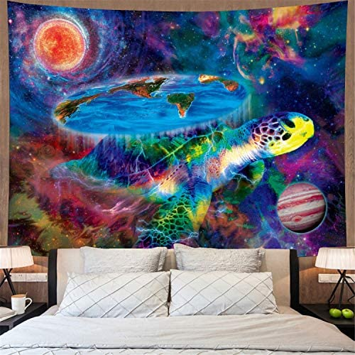 Trippy Galaxy Tapestry Psychedelic Turtle Tapestry Mysterious Space Planets Tapestry Wall Hanging Fantasy Earth Wall Tapestry for Living Room H70 x W92