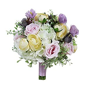 USIX Handmade Natural Looking Artificial Peony Hydrangea w/Green Leaves Classic Picture-Perfect Wedding Bridal Holding Bouquet Bridesmaid Bouquet Throw Bouquet Wedding Flower Arrangements 13