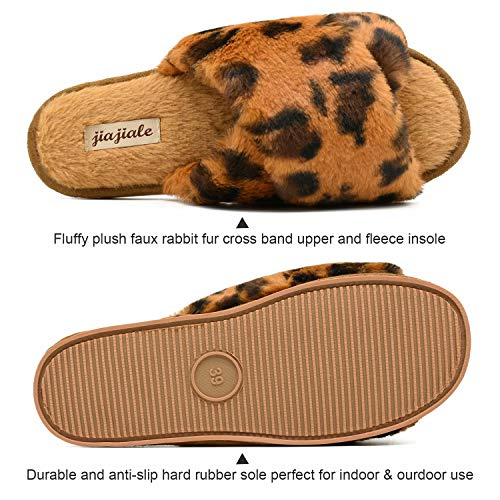 Womens Fluffy Cross Band Slippers, Ladies Arch Support Fuzzy Plush Slides Slippers, Furry Faux Fur Cozy House Slipper, Open Toe Memory Foam Slide Sandals