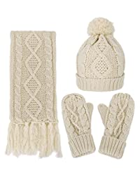 Adults Winter Set Solid Color Thick Cable Knitted Hat Scarf & Gloves Set, Beige