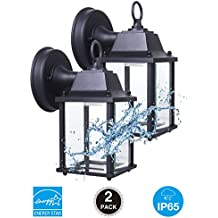CORAMDEO Outdoor LED Wall Lantern, Wall Sconce 9.5W Replace 75W Traditional Lighting Fixtures, 800 Lumen, Water-proof, ETL and Energy Star Certified, 2-Pack