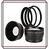 BlueTech 2.5x Telephoto + 0.43x Wide Angle w/ Macro Close-Up Attachment Conversion Lenses (Compatible with 49mm, 52mm, 55mm 58mm lens thread) For Canon, Carl Zeiss, Fuji, Fujifilm, Nikon, Panasonic, Pentax, Olympus, Samsung, Sony, Sigma, Tamron, Tokina, Lens