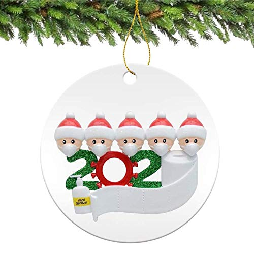 Christmas Ornaments 2020 Xmas Decorative Ornament DIY Quarantine Family Personalized Name with Face Mask Hand Sanitizer Toilet Paper, Creative Gifts for Family Customized (Family of 5 --White, 1 Pcs)