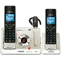VTech LS6475-3 DECT 6.0 Expandable Cordless Phone with Answering System and DECT Cordless Headset, Silver with 2 Handsets and 1 Headset