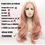 Tsnomore Long Curly Fashion Lace Front Women Wig for White Women(Candy Pink)