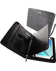 TECHGEAR Executive läder folio organiserarfodral skydd med anti-stöt bubbelinteriör och förvaringsfickor, påsar och kortfack passar iPad 10.2 2021, 9.7, 10.5, Samsung Tab 10.5 10.1 9.7 etc – skiffer